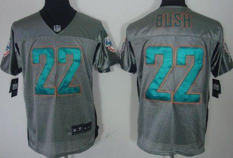 nike miami dolphins 22 reggie bush gray shadow elite jersey