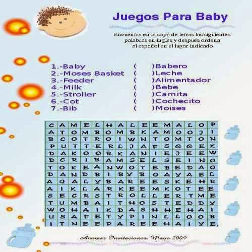 Juegos De Bebe Para Imprimir Sopa De Letra Baby Shower Diego