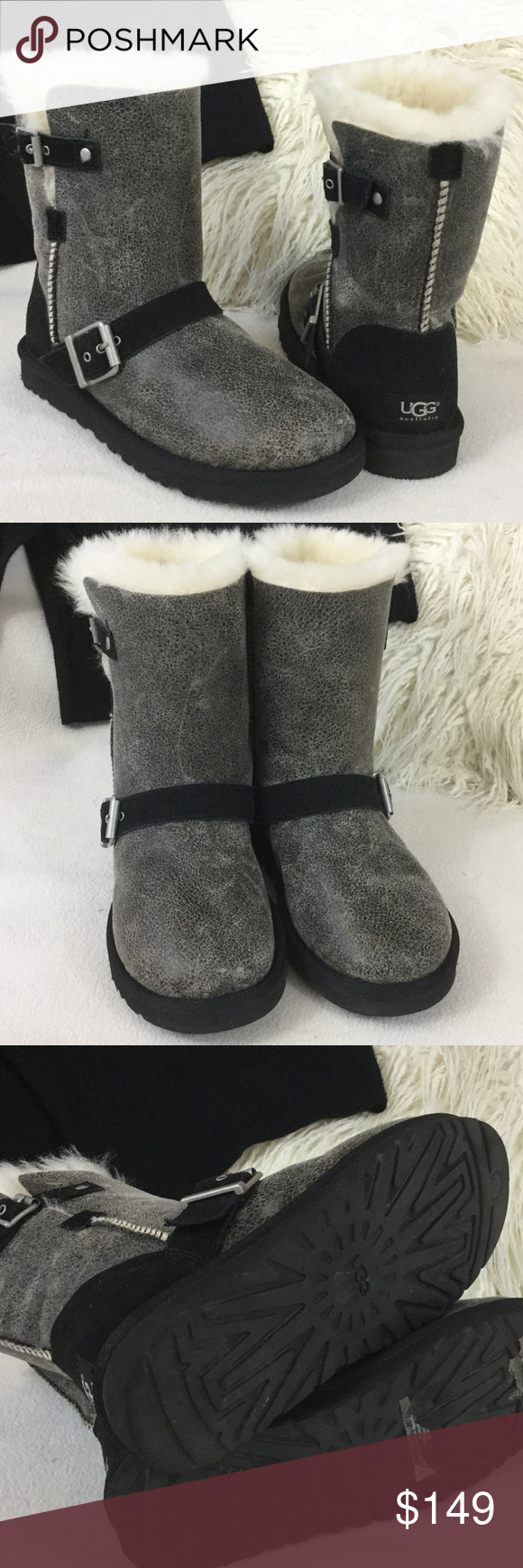 fc9827eab2a UGG Like New crackle leather buckle boots UGG black crackle boots ...