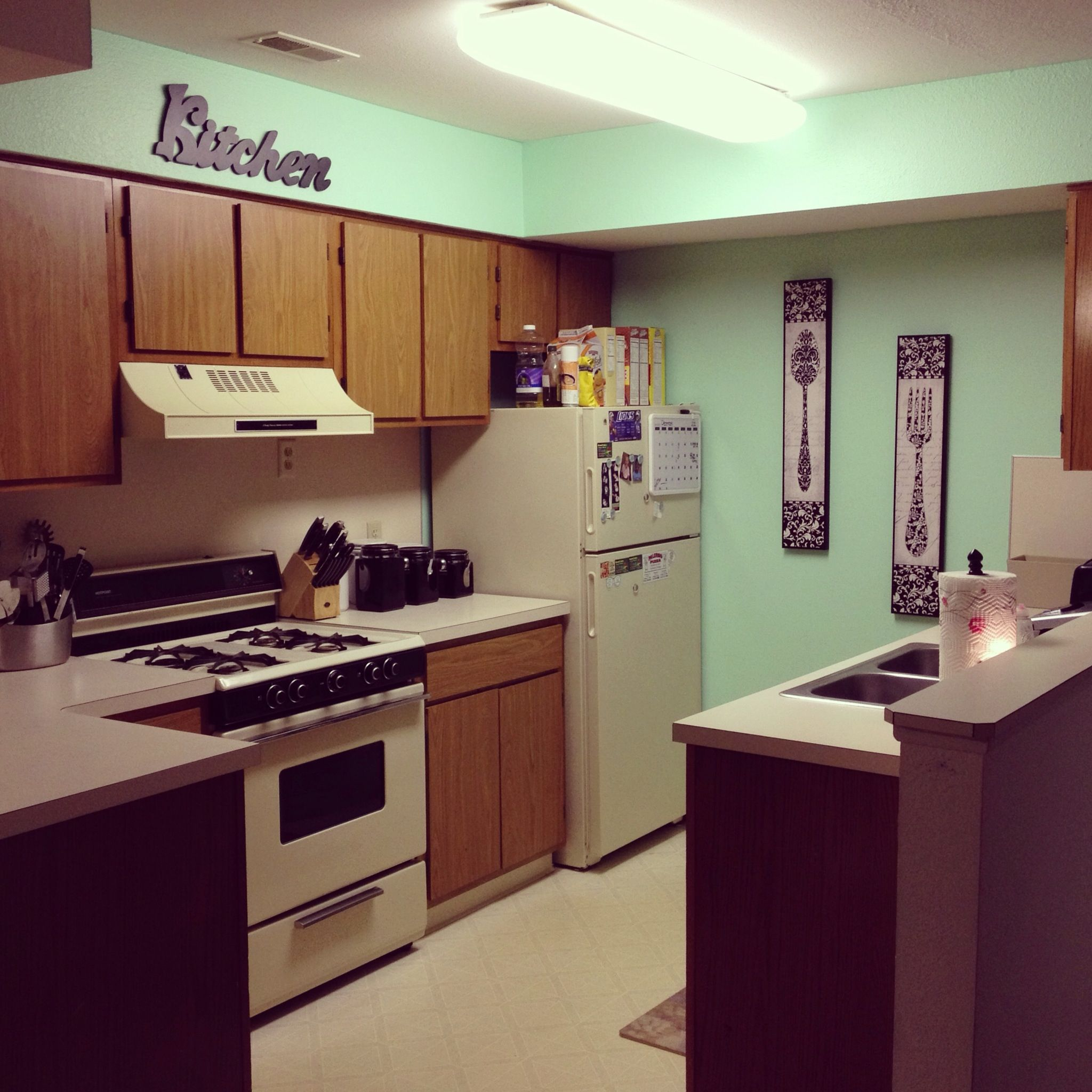 Best Paint Color In Kitchen Colors For Small Kitchens With: Our New Mint Kitchen! Valspar Paint : Beach Blanket