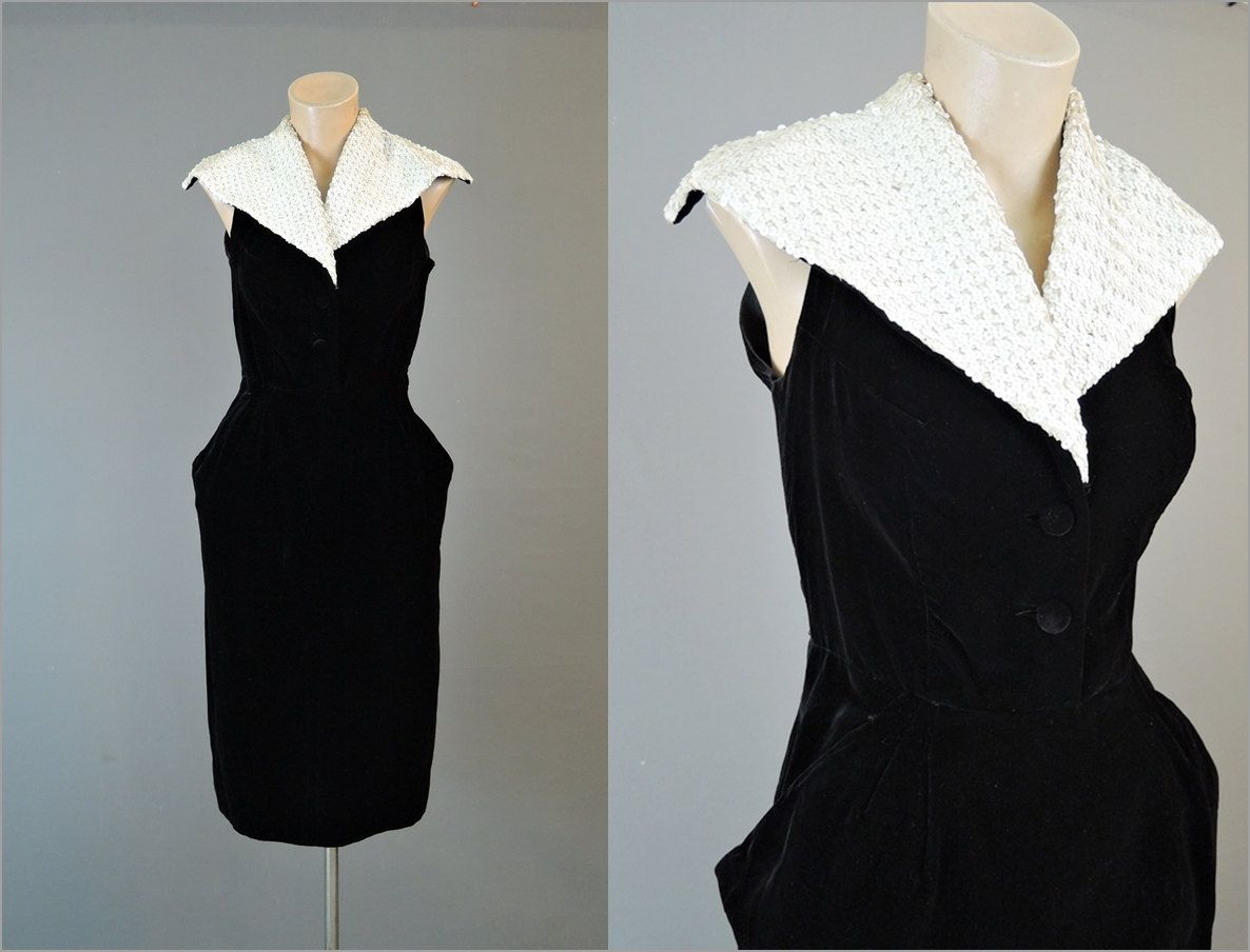S black velvet dress with white sequin collar bust fitted xs
