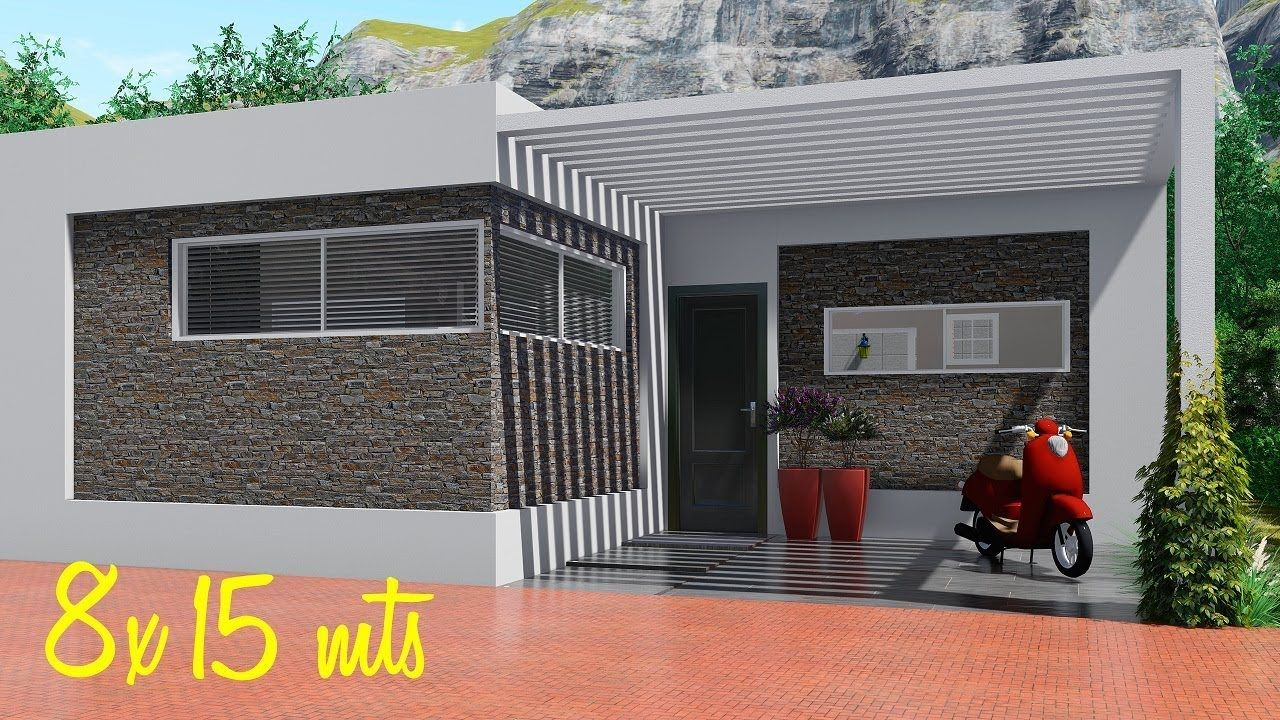 Plano De Casa De 8x15 Metros Con Cocina Abierta Diseno De Casas