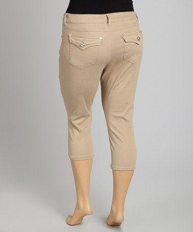 Another great find on #zulily! Khaki Flap-Pocket Capri Pants - Plus #zulilyfinds