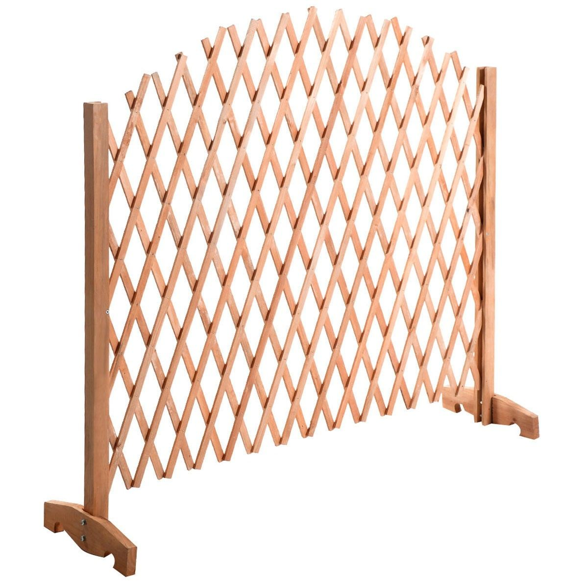 Expanding Portable Fence Wooden Screen Dog Gate Pet Safety Kid Patio Garden  Lawn   Fencing U0026