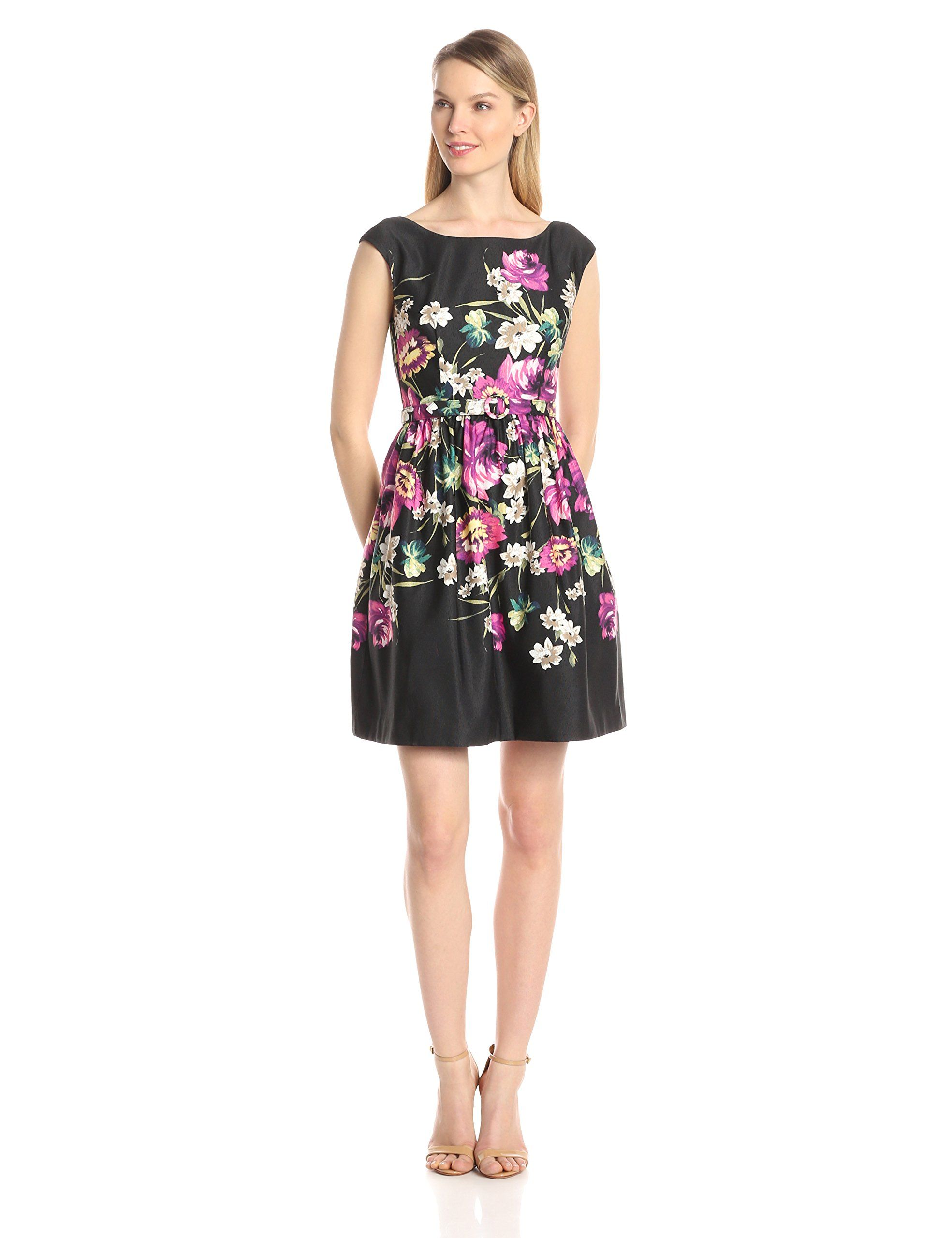 1c2d342711fdb Eliza J Women's Cap Sleeve Floral Fit and Flare Dress at Amazon ...