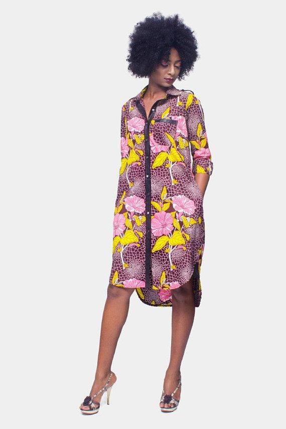 4750a58f86 African Print Shirt Dress
