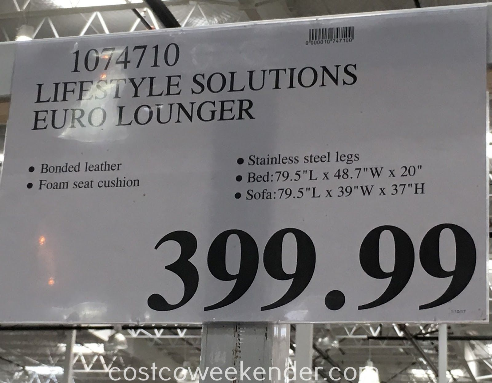 Lifestyle Solutions Euro Lounger 1074710 At Costco