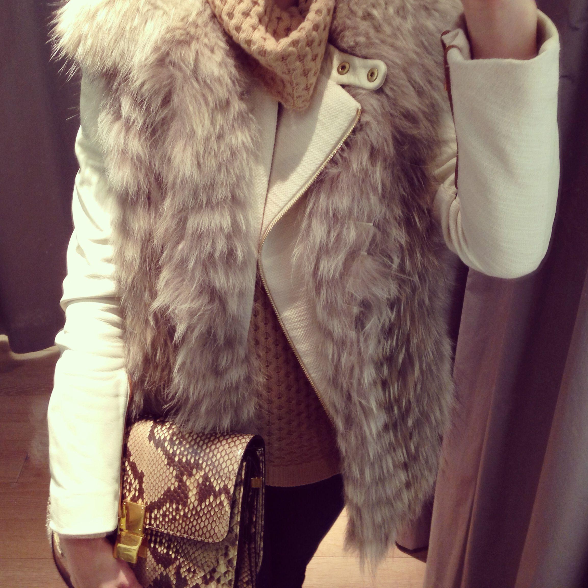 I m wearing an Yves Salomon fox fur vest 4e2dc273cdb03