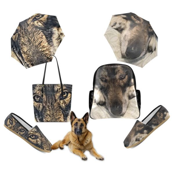 Outfit for dog lovers. Umbrella, tote bag, backpacks, causal canvas shoes. #beoriginalstore  https://www.beoriginalstore.com/collections/dog-german-shepherd