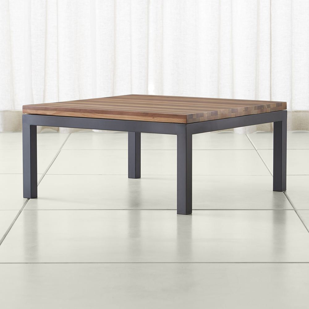 Parsons Reclaimed Wood Top Dark Steel Base 36x36 Square
