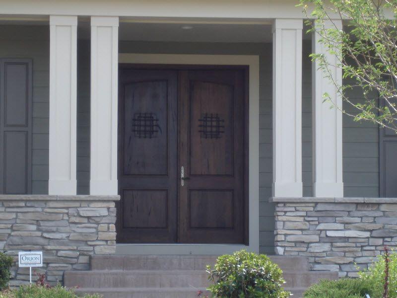 Exterior Doors Fiberglass Rustic Mahogany Style Front Double Doors