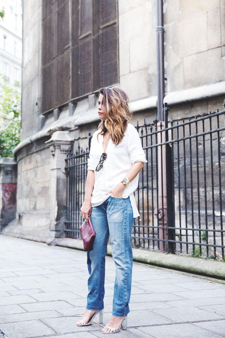 Denim_Levis_Vintage-White_Shirt-Sandals-Burgundy_Clutch-Karen_Walker