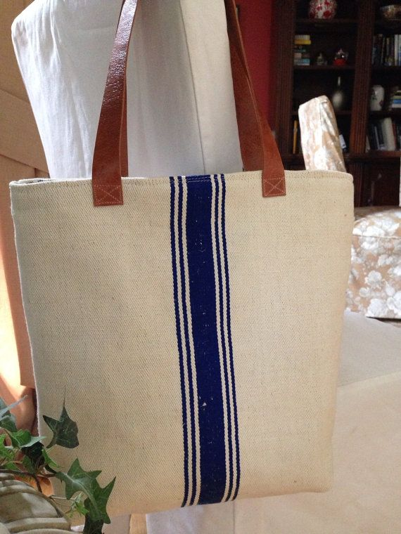 Market Tote I Made My Grain Sack Bag From Vintage German The Featured Navy Stripes And Lined With Blue Ticking