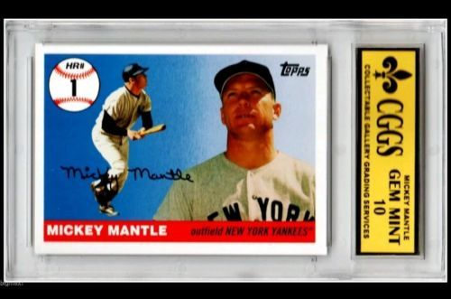 2006 Topps Mickey Mantle Ny Yankees Mhr1 Gem Mint 10 Cggs Mickey Mantle Baseball Cards Ny Yankees