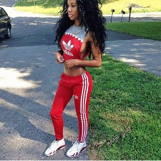 734326c7b7fc t-shirt blouse red pants red bottoms adidas top shirt pants sexy red top  tracksuit sweatpants jordans joggers cropped red curly hair black girls  killin it ...