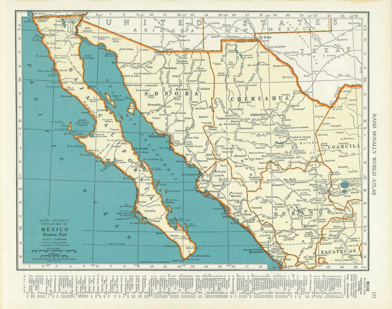 1930s vintage map of western mexico baja by parksidepatch on etsy