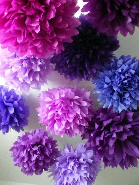 Girls birthday decorations Tissue poms purple 10 poms