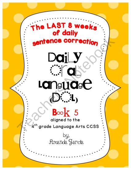 Daily Oral Language Dol Book 5 Aligned To The 4th Grade