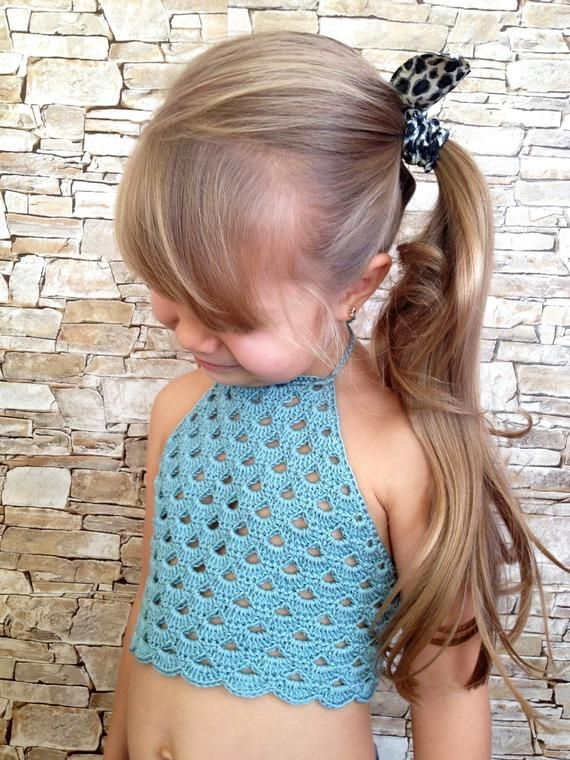 Colorful crochet lace top for little girls Beach clothing