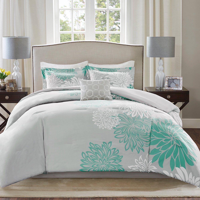 Comfort Spaces Enya Comforter Set 5 Piece Aqua Grey
