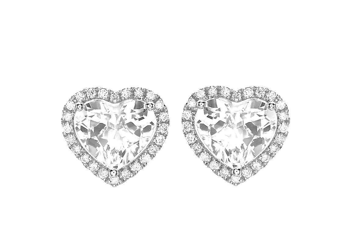 5eb7cac5a Grace White Topaz and Diamond Heart Studs in White Topaz in 2019 ...