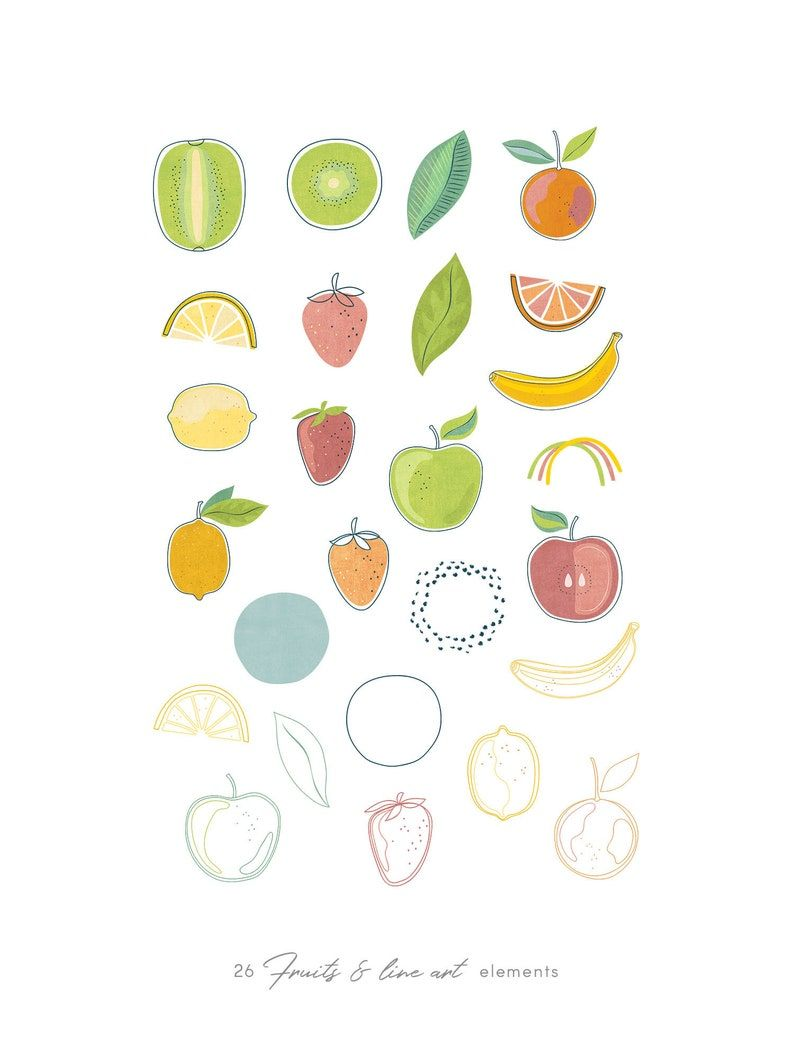 Watercolor fruits abstract clip art modern illustrations & | Etsy