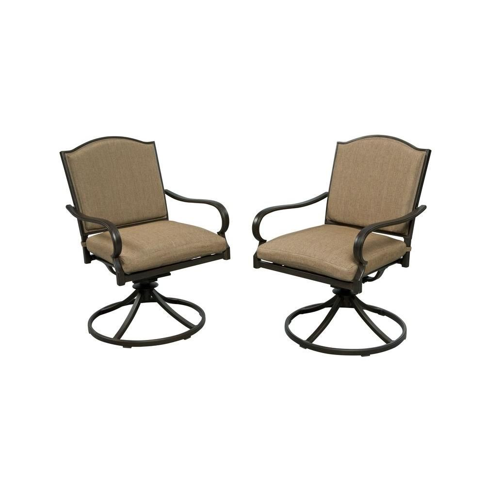 Hampton Bay Castle Rock Motion Patio Lounge Chair With Toffee Cushion  (2 Pack)