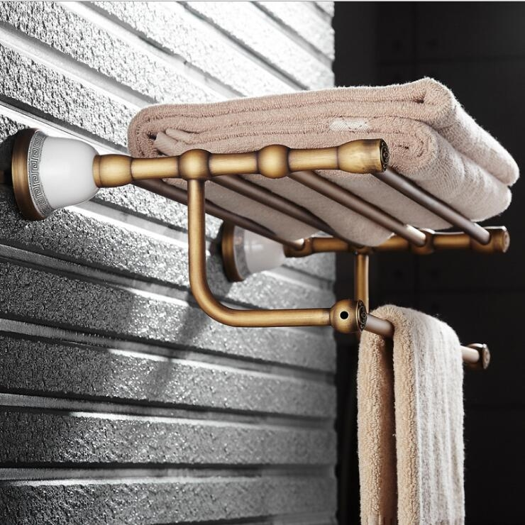 148.00$ Watch Here   Wall Mounted Towel Rack Antique Towel Holder Copper  And Ceramic Bathroom