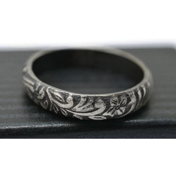 Silver Renaissance Ring Engravable Jewelry Oxidized Wedding Band
