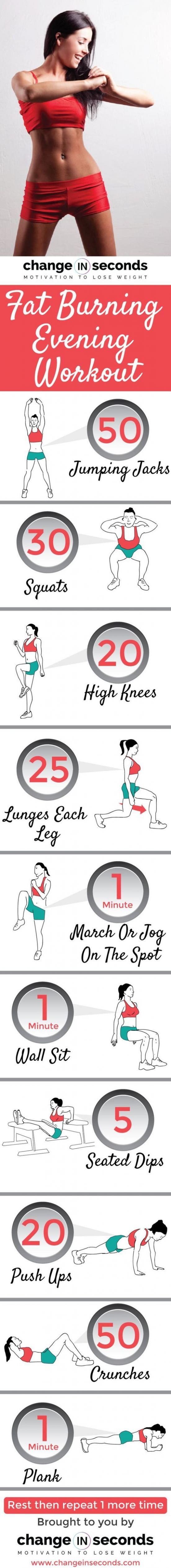 Fat Burning Evening Workout Burn Huge Amount Of Fat (Download PDF)