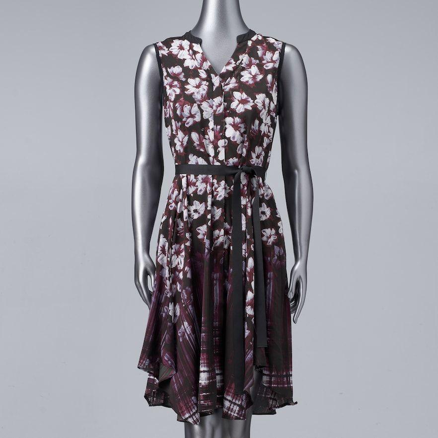 Women's Simply Vera Vera Wang Print Shirt Dress Kohls