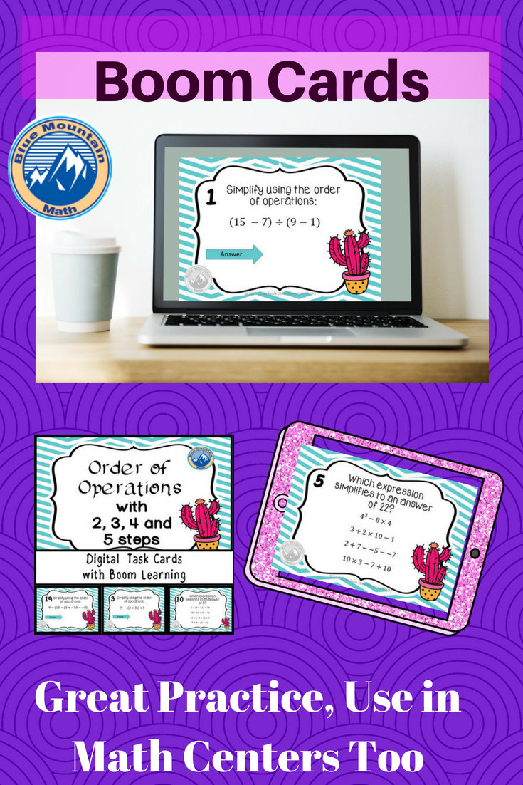 Digital Task Cards To Teach Order Of Operations Great For Algebra Pre Algebra Both High Sch Order Of Operations Common Core Math Activities Algebra Projects [ 1102 x 735 Pixel ]
