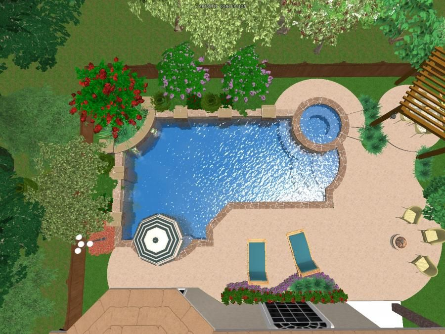 3d renderings of swimming pool designs platinum pools for Swimming pool plan