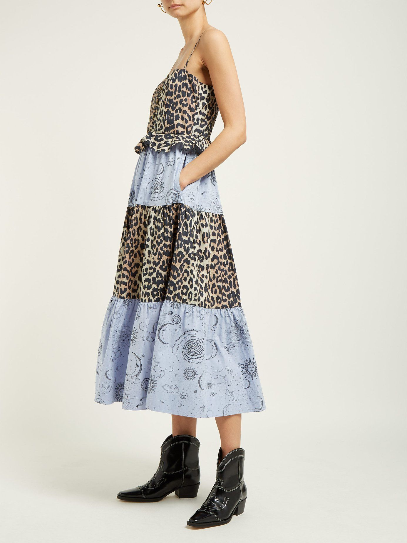a4500cd59c Leopard and moon-print tiered poplin midi dress | Ganni |  MATCHESFASHION.COM UK