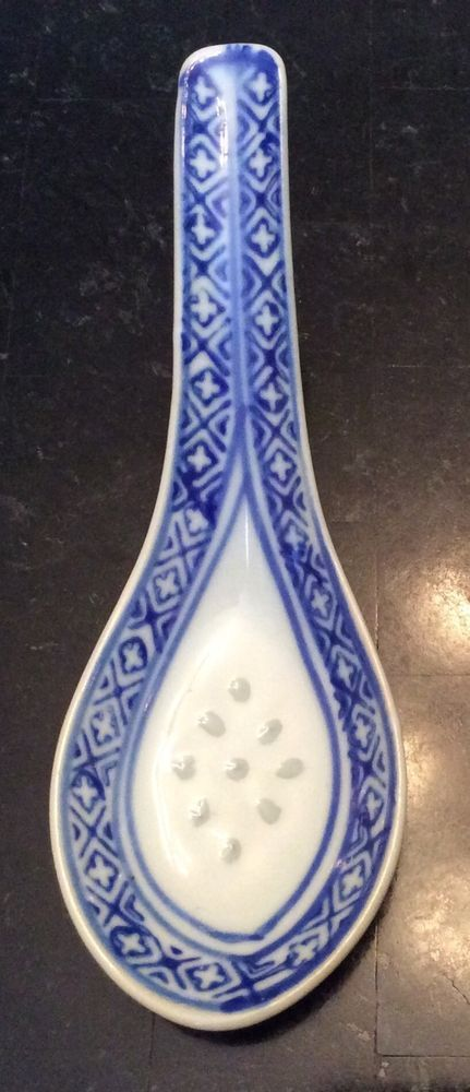 s Porcelain Blue White Detail Chinese Translucent Rice Grain Soup Spoon
