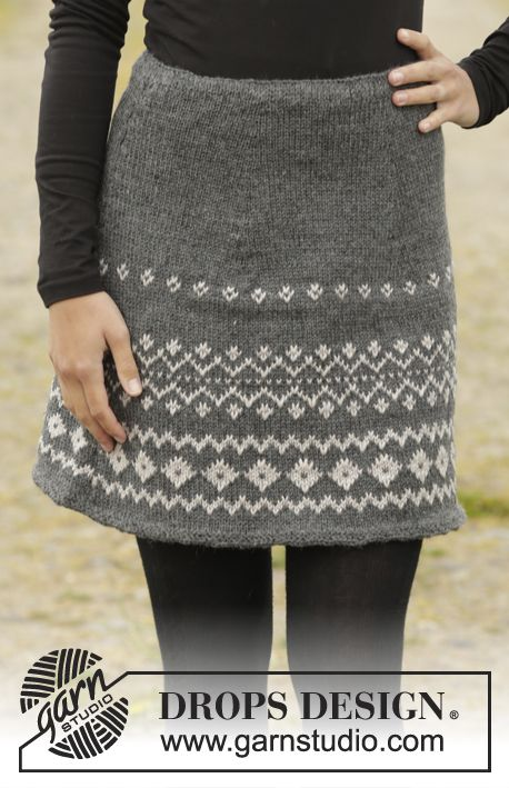 Free Knit Skirt Pattern : Diamond Twist by DROPS Design. Skirt with color pattern in ?Lima?. Free #knit...