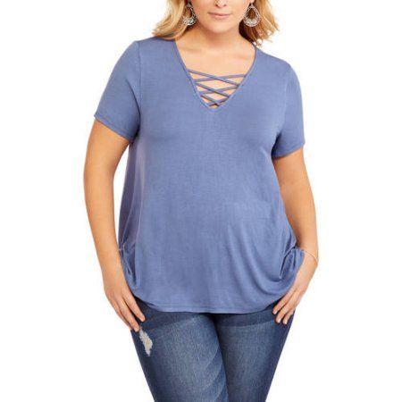 French Laundry Women's Plus V-Neck Criss Cross Neck Detail Tee With Hi Lo Hem, Blue