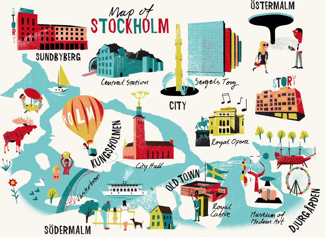 Mapa De Estocolmo With Images Illustrated Map Stockholm