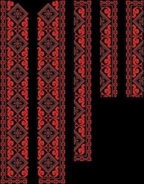 Схема для вишивання чоловічої вишиванки бісером або нитками на домотканому  полотні