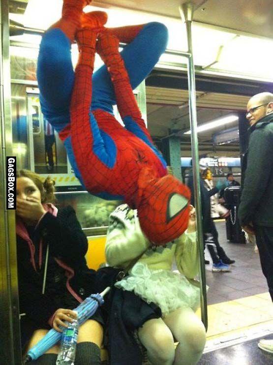 Spiderman Rides the Subway - #funny, #lol, #fun, #humor, #comics, #meme, #gag, #lolpics, #funnypics,