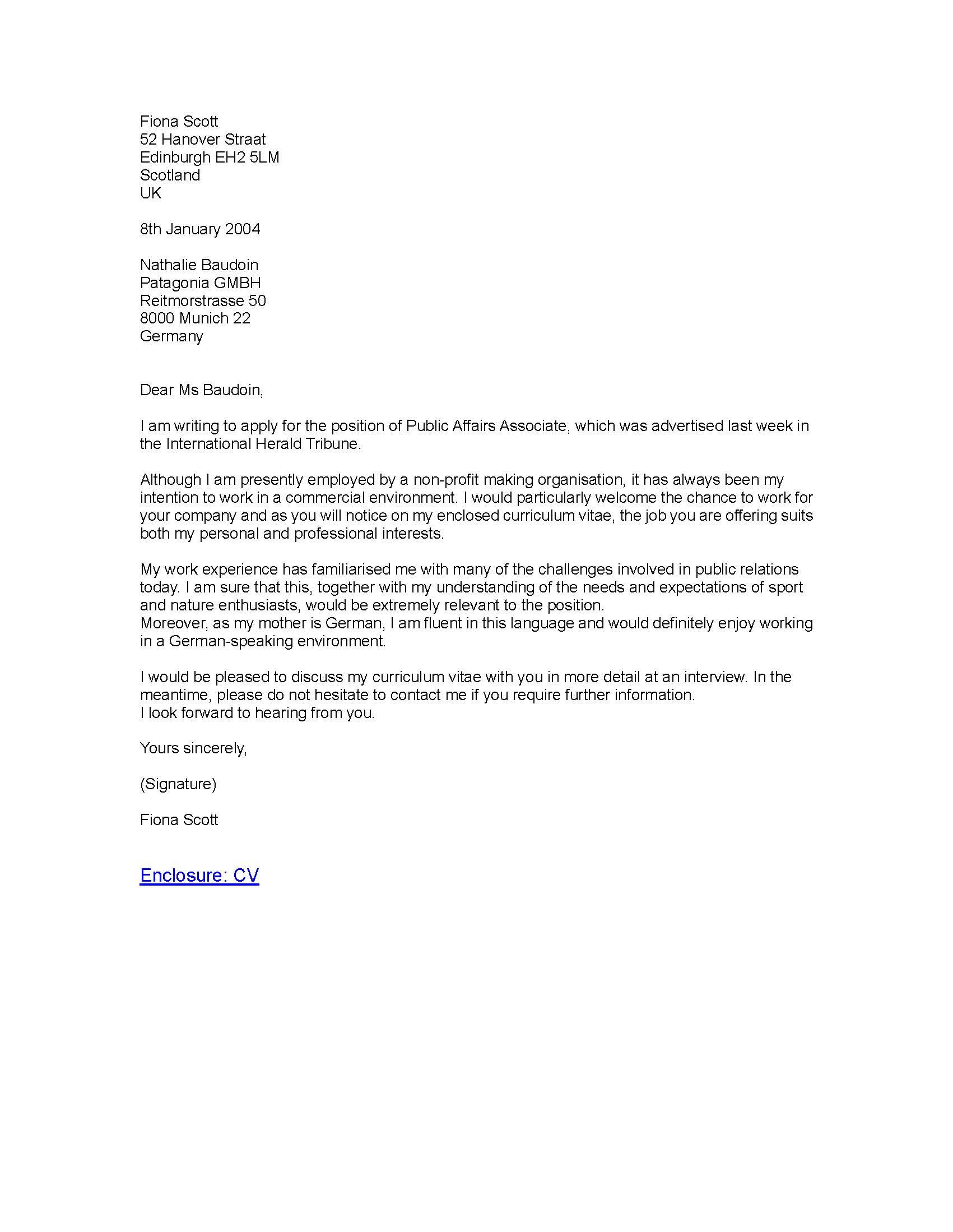 Formal Business Letter Applying For A Job Formal