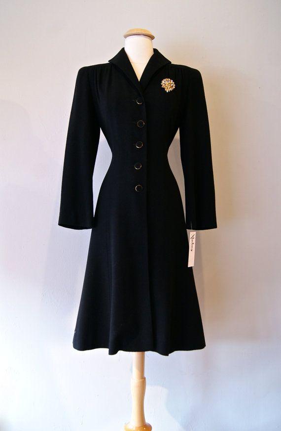 30s Ladies Coat // Vintage 1930s Black Fitted Wool Princess Coat ...