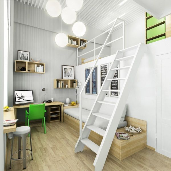 Study Room Color Ideas: White-interior-color-home-study-bedroom-mezzanine-design