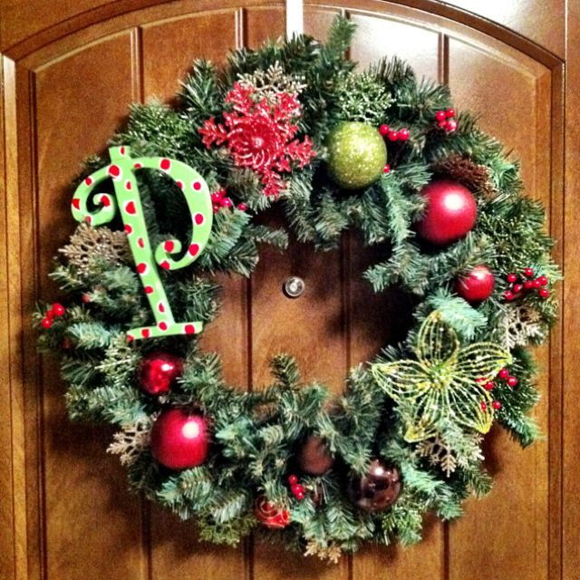 My first Christmas wreath!! What would I do without Hobby Lobby and