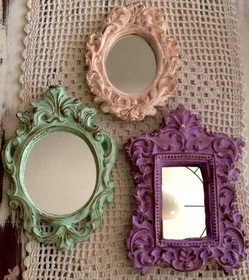 Set de 3 espejos simil antiguos marco de yeso patinado for Pintar marco espejo