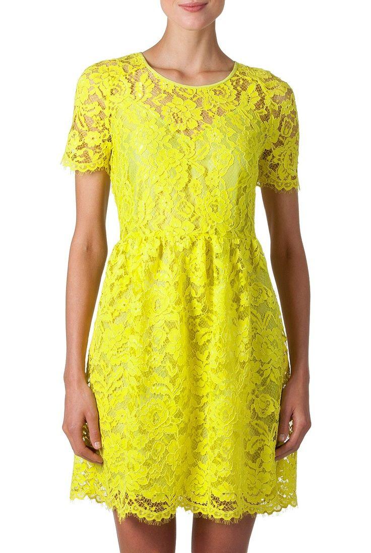 Yellow lace dress lacedress fashionwomen style lace dress