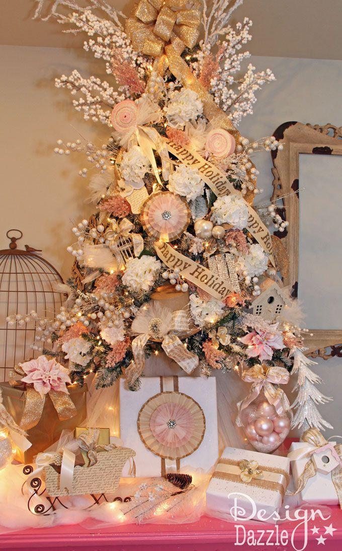 Michael S Holiday Dream Tree Challenge Reveal Design Dazzle Shabby Chic Christmas Tree Christmas Tree Decorations Christmas Tree Design