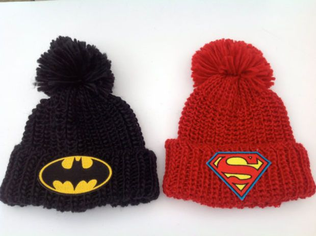 17814541 Batman or Superman Patch Knit PomPom Hat Unisex Oversized Winter Slouchy  Hipster Turned Up Cuffed Beanie Bobble Hat