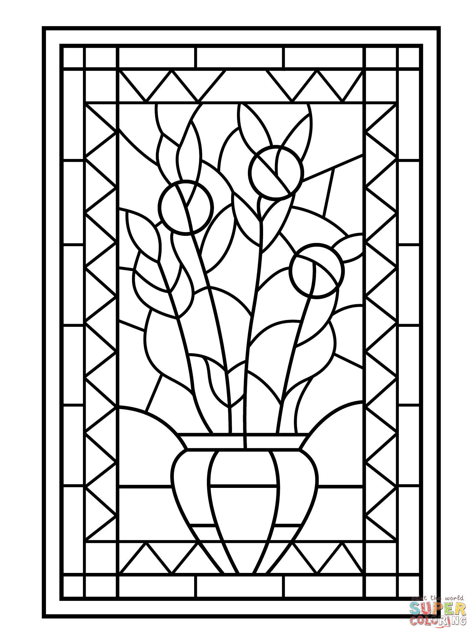 Flower Vase Stained Glass Coloring Page Free Printable Coloring Pages Stained Glass Flowers Flower Coloring Pages Stained Glass Christmas