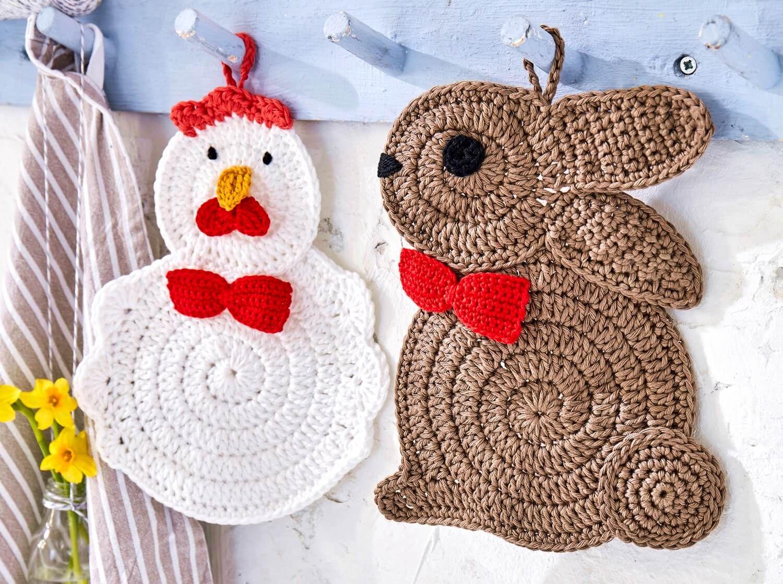 Topflappen-Set aus Hase und Huhn #crochetpotholderpatterns
